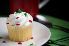 Een cupcake voor Kerstmis Stock Afbeeldingen
