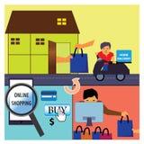 Een cyclus van online het winkelen Stock Afbeeldingen