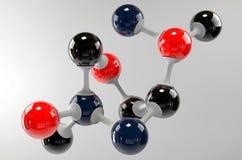 Een 3d molecule op een grijze achtergrond Royalty-vrije Stock Afbeelding