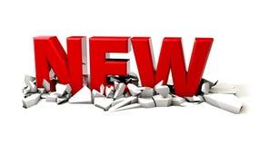 Een 3d rood nieuw woord op een witte achtergrond Stock Afbeelding