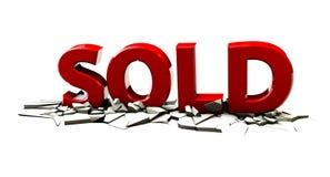 Een 3d rood verkocht woord op een witte achtergrond Stock Afbeeldingen