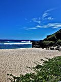 Een dag bij het strand is nooit verloren tijd stock afbeeldingen