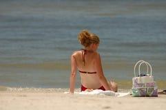 Een dag bij strand het ontspannen Stock Afbeelding
