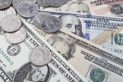 Een Dag in de bank (de muntstukken en de nota's van USD) Royalty-vrije Stock Foto