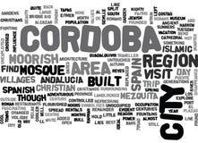 Een Dagtocht aan Word van Cordoba Spanje Wolk vector illustratie