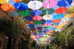 Een dak van paraplu's royalty-vrije stock foto's