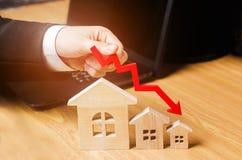 Een daling in bezitsprijzen bevolkingsdaling dalende rente op de hypotheek vermindering veel gevraagd voor de aankoop van housin royalty-vrije stock afbeeldingen