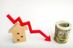 Een daling in bezitsprijzen bevolkingsdaling dalende rente op de hypotheek vermindering veel gevraagd voor de aankoop van housin stock foto's