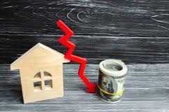 Een daling in bezitsprijzen bevolkingsdaling dalende rente op de hypotheek vermindering veel gevraagd voor de aankoop van housin stock afbeelding