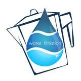 Een daling van water en een filtervector Stock Afbeeldingen