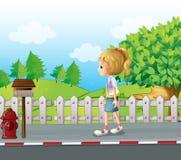 Een dame die in de alleen straat lopen royalty-vrije illustratie