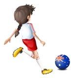 Een dame die de bal met de vlag van Australië gebruiken Stock Foto