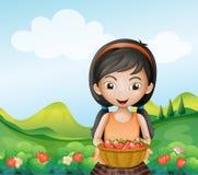 Een dame die een mand van aardbeien houden royalty-vrije illustratie