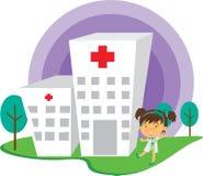 Een dame Doctor Near Hospital vector illustratie