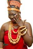 Een dame in haar traditiionaal uitrusting Stock Foto's
