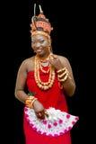 Een dame in hher traditiionaal uitrusting Stock Foto's