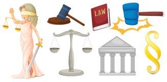 Een dame met de symbolen voor rechtvaardigheid vector illustratie