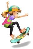 Een dame met een kleurrijk skateboard Stock Foto