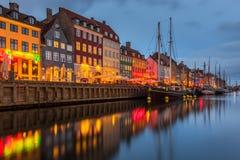 Een de 17de eeuwwaterkant Nyhavn in Kopenhagen Royalty-vrije Stock Foto