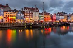 Een de 17de eeuwwaterkant Nyhavn in Kopenhagen Royalty-vrije Stock Afbeeldingen