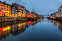 Een de 17de eeuwwaterkant Nyhavn in Kopenhagen Stock Afbeelding