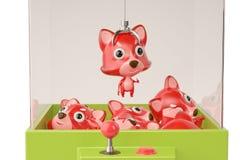 Een de kraanmachine van Firefox en stuk speelgoed 3D Illustratie Stock Foto