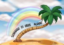 Een de zomermalplaatje met een regenboog Stock Foto's
