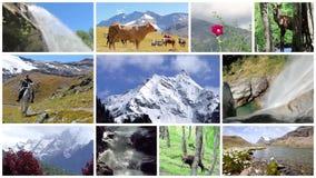 Een de zomervakantie door de montering van alpen stock videobeelden