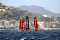 Een deel die van VOR-vloot na beginbeen 1 Alicante-Lissabon varen Royalty-vrije Stock Afbeelding