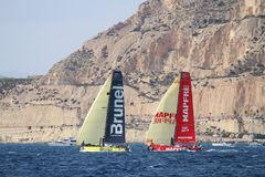 Een deel die van VOR-vloot na beginbeen 1 Alicante-Lissabon varen Royalty-vrije Stock Foto