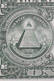 Een deel van één dollarnota met grote verbindingsmacro Royalty-vrije Stock Afbeeldingen