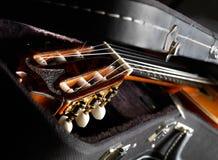 Een deel van akoestische gitaar. royalty-vrije stock foto
