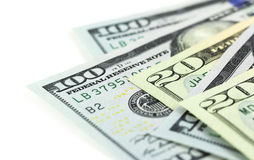 Een deel van Amerikaanse dollars op witte achtergrond Stock Foto