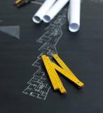 Een deel van architecturaal project Stock Foto's