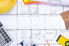 Een deel van architecturaal project Hulpmiddelen om een nieuw huis te ontwerpen royalty-vrije stock foto's