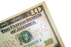 Een deel van een bankbiljet van de V.S. De hoek van een tien dollarrekening Close-up Macro Financieel concept voor ontwerp royalty-vrije stock foto