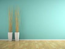 Een deel van binnenland met blauwe muur en vazen het 3D teruggeven Royalty-vrije Stock Fotografie