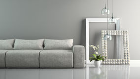 Een deel van binnenland met grijze bank en modieuze kaders het 3D teruggeven Royalty-vrije Stock Afbeeldingen