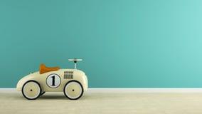 Een deel van binnenland met het modieuze beige stuk speelgoed auto 3D teruggeven Royalty-vrije Stock Afbeeldingen