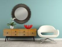 Een deel van binnenland met het modieuze consol en leunstoel 3D teruggeven Stock Fotografie