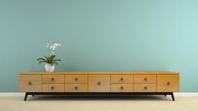 Een deel van binnenland met modieuze retro consol en 3D de orchidee geven terug Stock Afbeeldingen