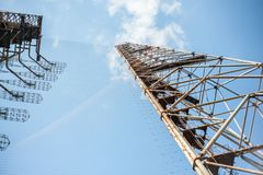 Een deel van bouw van telecommunicatie radiocentrum Duga in Pripyat, Tchernobyl stock foto