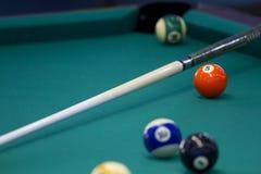 Een deel van de Amerikaanse poollijst met ballen en richtsnoer Royalty-vrije Stock Afbeeldingen