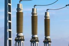 Een deel van de elektrische post van de elektrische centraletransformator Royalty-vrije Stock Fotografie