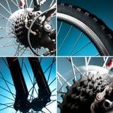 Een deel van de fiets. wiel, band, ketting, tand Stock Afbeelding