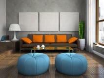Een deel van de moderne woonkamer Stock Foto