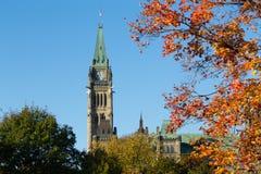 Een deel van de Parlementsgebouwen van Ottawa stock foto