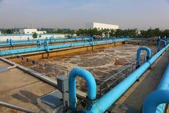 Een deel van de scène van de behandelings van afvalwaterinstallatie Royalty-vrije Stock Foto