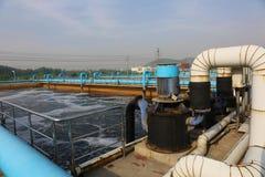 Een deel van de scène van de behandelings van afvalwaterinstallatie Stock Fotografie