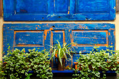 Een deel van de verschillende types van een houten poort van hout met diverse bloempotten Stock Afbeeldingen